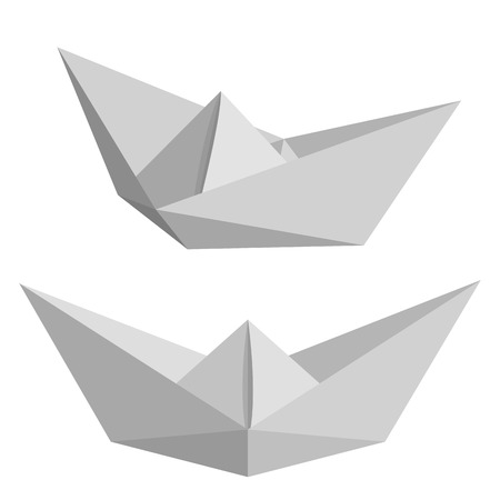 water stream: Set of paper ships isolated on white background. Origami. Low poly style illustration. Illustration