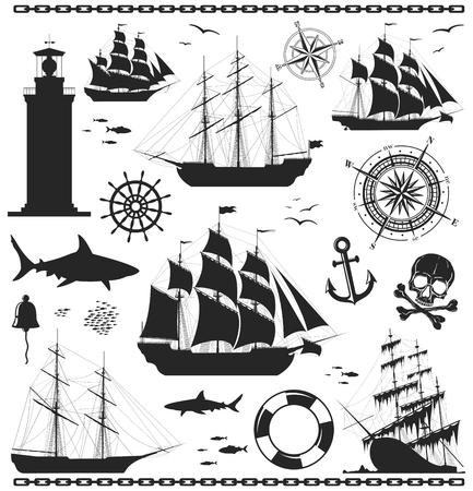 old boat: Set of silhouettes of sailing ships with nautical design elements. Compass rose, anchor,  beacon, bell, lighthouse, shark, skull, steering wheel, windrose. No trace. illustration.