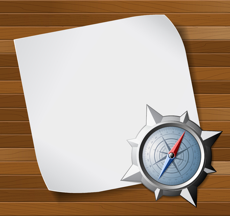 steel sheet: Steel detail compass and white blank paper sheet over wooden background. illustration.