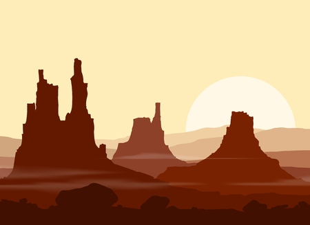 lifeless: Sunset in huge red Mountains. illustration. Illustration