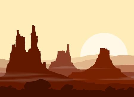 color range: Sunset in huge red Mountains. illustration. Illustration
