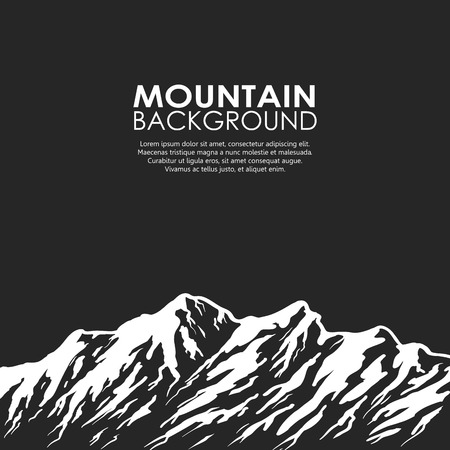 White mountain range isolated on black background. Black and white huge mountains. Vector illustration with copy-space.  イラスト・ベクター素材