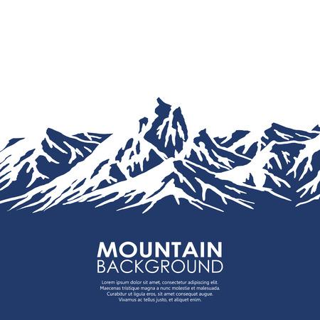 montagna: Intervallo di montagna isolato su sfondo bianco. Illustrazione di vettore con copia-spazio.