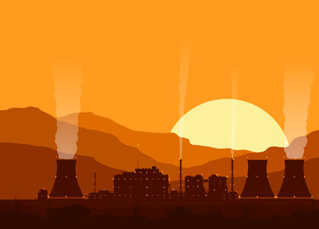 cooling tower: Silhouette of a nuclear power plant with lights at sunset in mountains. Vector illustration.