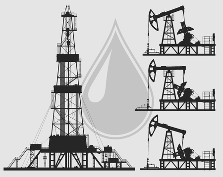 the detail: Set of oil pumps and rig silhouettes. Detail vector illustration. Illustration
