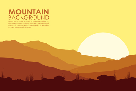 lifeless: Yellow sunset in mountains. illustration of huge mountain range.