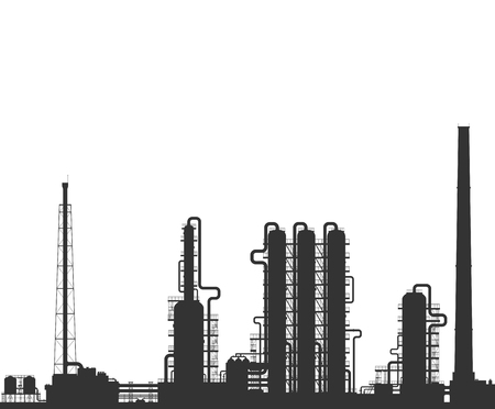 rectification: Oil refinery or chemical plant silhouette. Detailed illustration isolated on grey background.