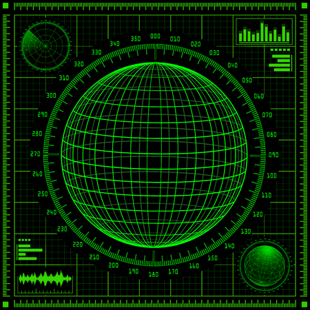 sonar: Radar screen with planet and futuristic user interface HUD.  Green infographic elements. illustration.