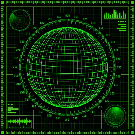 sonar: Schermo radar con il pianeta e l'interfaccia utente futuristica HUD. Elementi infographic verdi. illustrazione.