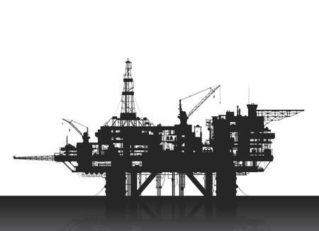 Sea oil rig. Oil platform in the deep sea. Detailed illustration.
