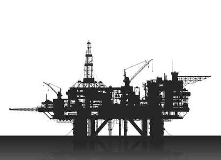 Sea oil rig. Oil platform in the deep sea. Detailed illustration.