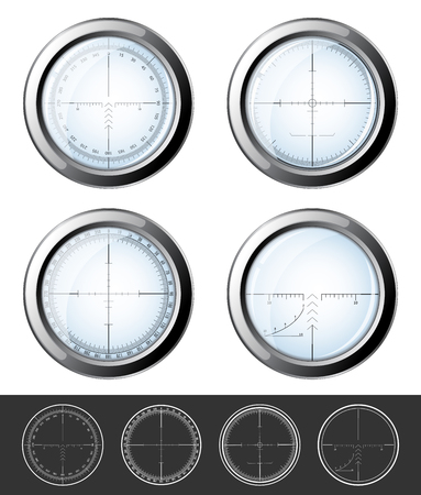 sniper crosshair: Set of military design elements - crosshair sniper scopes isolated on white background.