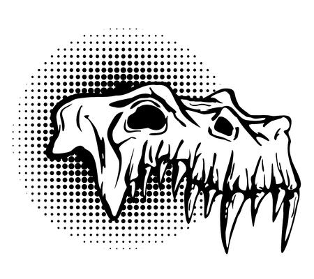 beast: Skull of danger beast with huge fangs. Black and white design isolated on white. Illustration
