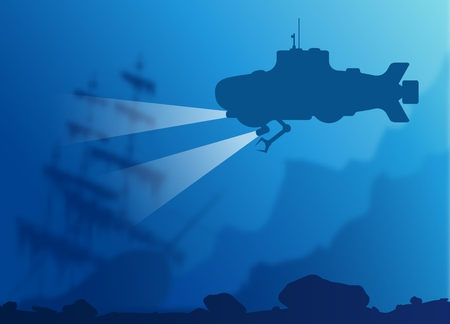 sunken: Blurred underwater background with blue submarine silhouette and old sunken ship.