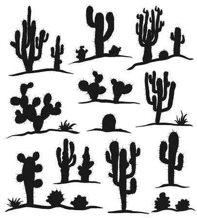 Different types of cactus plants realistic decorative icons set isolated on white background. Vector illustration. Иллюстрация