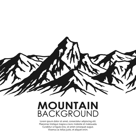 Massif montagneux isolé sur fond blanc. Noir et blanc énormes montagnes. Vector illustration avec copie espace. Vecteurs