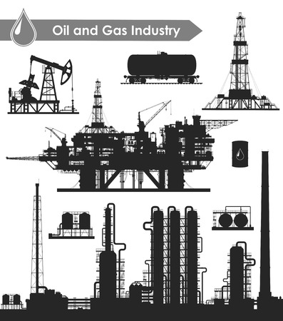 drilling rig: Set of oil and gas industry silhouettes. Oil refinery, offshore sea oil drilling rig, land oil drilling rig, oil pumpjack, barrel and railroad oil tank. Vector illustration.