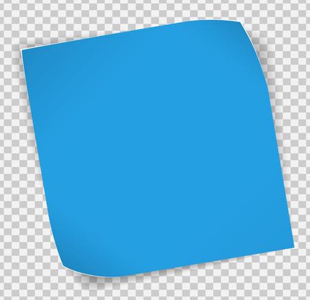 Blauw papier gekruld sticker met schaduwen over transparante achtergrond.