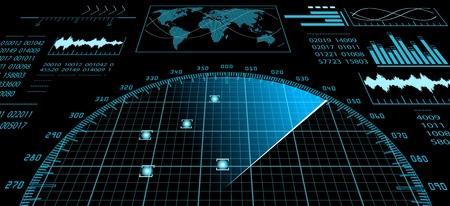 Niebieski ekran radarowy z futurystycznym interfejsem użytkownika HUD i cyfrową mapą świata. Infograficzne elementy konstrukcyjne. Ilustracji wektorowych. Ilustracje wektorowe