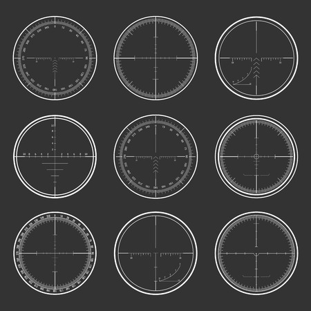 Set of military design elements - crosshair sniper scopes isolated on grey background. Vector illustration.