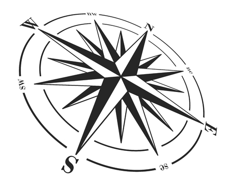 compass rose: Compass rose isolated on white. Vector illustration.