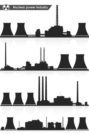 cooling tower: Silhouettes of nuclear power plants isolated on white background. Vector illustration. Illustration