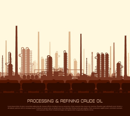 gas refinery: Oil and gas refinery or chemical plant with train tanks at sunset. Vector illustration.