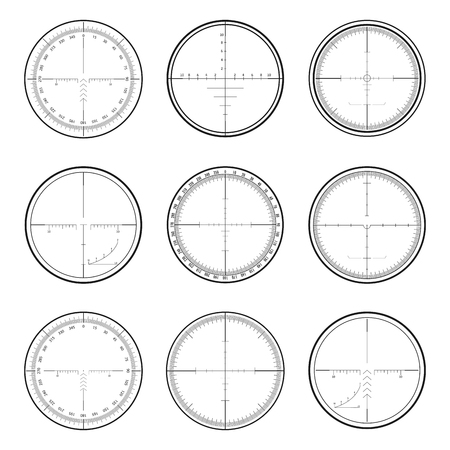 focus: Set of military crosshair sniper scopes isolated on white background. Illustration