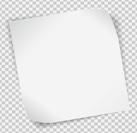Carta bianca arricciata adesivo con le ombre su sfondo trasparente. Vettoriali