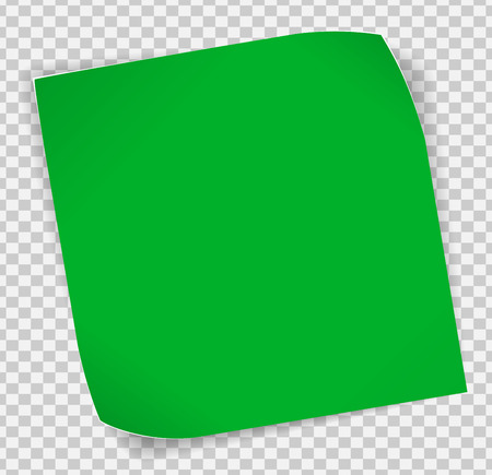 green paper: Green paper curled sticker with shadows over transparent background.