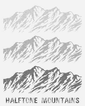 wilderness area: Halftone nountain range set. Black and white huge dotted isolated mountains. illustration.