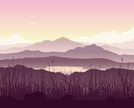 Mountain landscape with grass and huge lake. Wild nature at sunset. illustration.