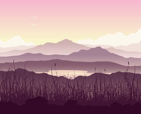 montagna: Paesaggio montano con erba e enorme lago. Natura selvaggia al tramonto. illustrazione. Vettoriali
