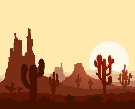 Landschap met zonsondergang in steen woestijn met cactussen en bergen.