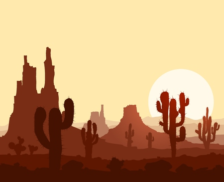 lifeless: Landscape with sunset in stone desert with cactuses and mountains.
