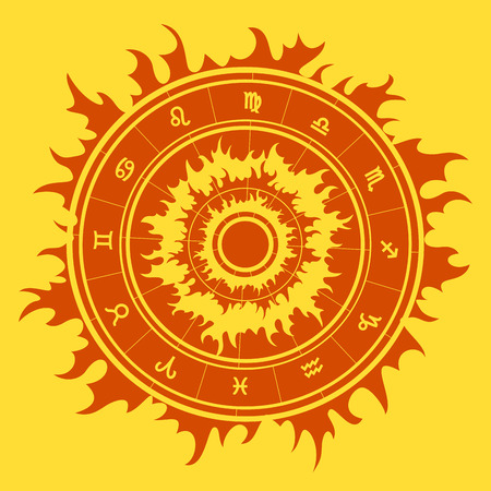 zodiacal symbol: Zodiac symbols inside star shape. illustration. Illustration