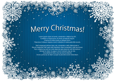 newyear: Blue Christmas background with white frame of snowflakes. New-Year background. Winter Christmas illustration with copy-space.