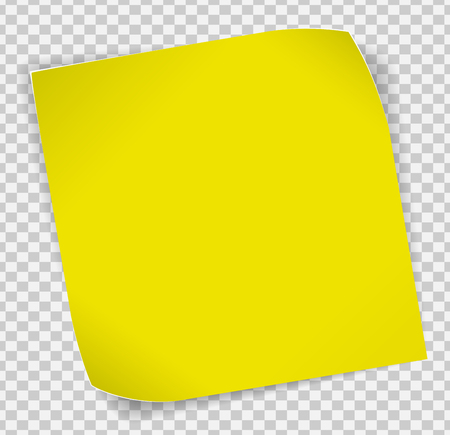 Yellow paper curled sticker with shadows over transparent background.