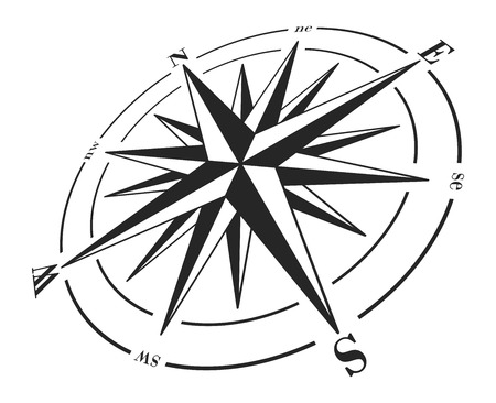 windrose: Compass rose isolated on white.