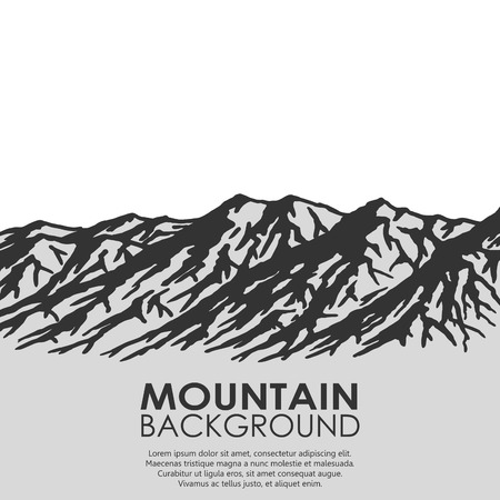 wilderness area: Mountain range isolated on white background. Black and white huge mountains.