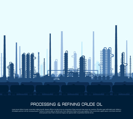 oil and gas industry: Oil and gas refinery or chemical plant with train tanks. Crude oil processing and refining. Heavy industry blue background. Illustration