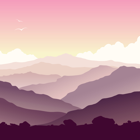 sunset lake: Mountain landscape with grass and huge lake. Wild nature at sunset. Illustration