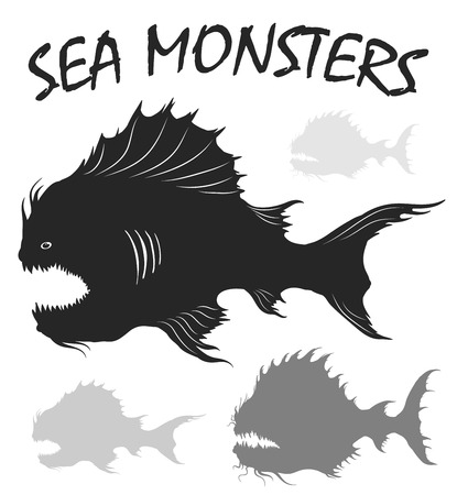 deepsea: Sea monsters set. Deep-sea fishes. Black and white freehand drawing illustration isolated on white background. Illustration