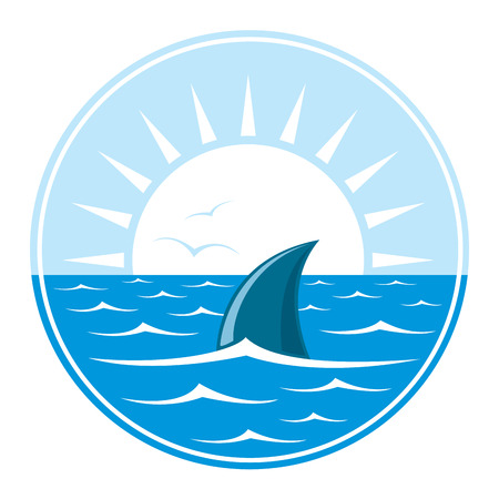 fin: Shark of sharks fin in in blue water over white sun. Illustration