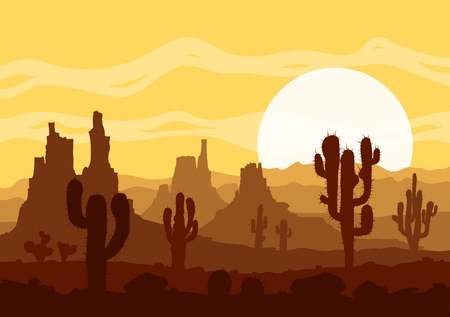 colorado mountains: Landscape with sunset in stone desert with cactuses and mountains.