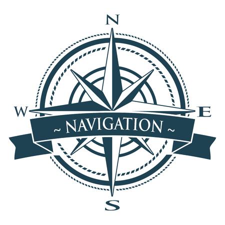 rosa de los vientos: Corporativo con rosa de los vientos. Emblema con la bandera aislado sobre fondo blanco. símbolo de la navegación. Vectores
