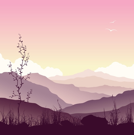 mountain sunset: Mountain landscape with grass and tree. Wild nature at sunset. Illustration