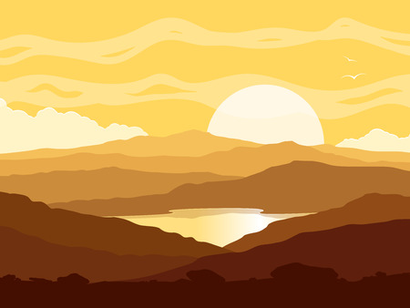 sunset lake: Mountain landscape with huge lake at yellow sunset. Wild nature at sunset.