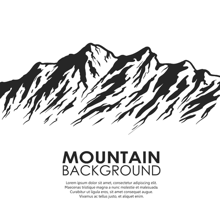 Mountain range isolated on white background. Black and white huge mountains.