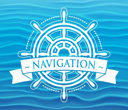 ship steering wheel: Ship steering wheel corporate emblem with banner. Illustration